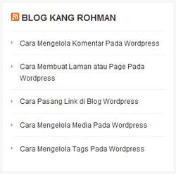 widget RSS wordpress
